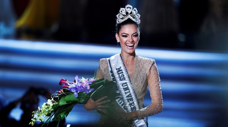Miss South Africa Demi-Leigh Nel-Peters reacts after being crowned Miss Universe during the 66th Miss Universe pageant at Planet Hollywood hotel-casino in Las Vegas